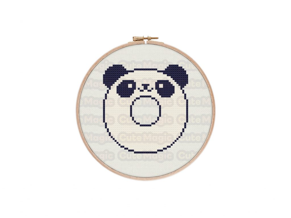Cute Kawaii Panda Donut Cross Stitch Pattern