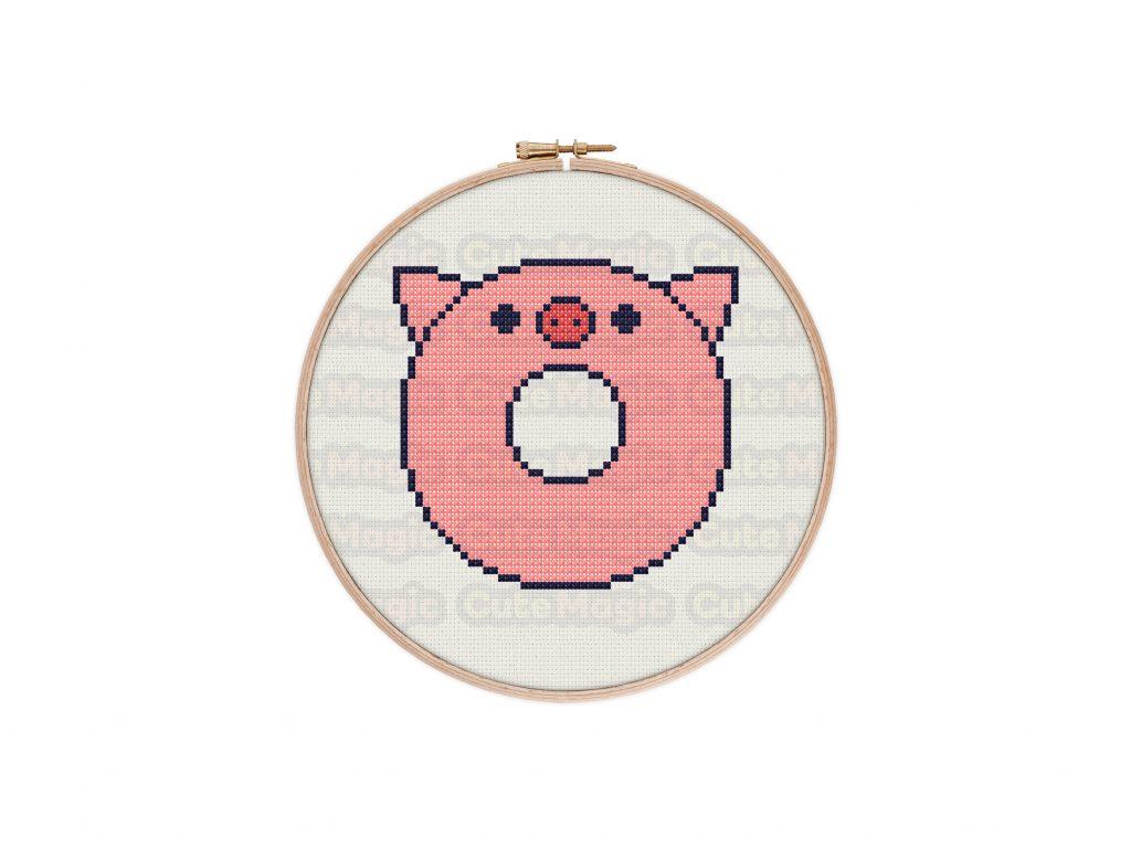 Cute Kawaii Pig Donut Cross Stitch Pattern