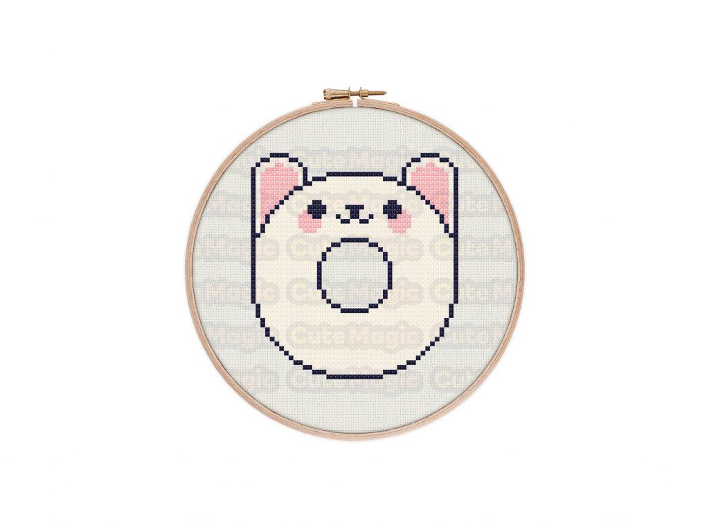 Cute Kawaii Rabbit Donut Cross Stitch Pattern