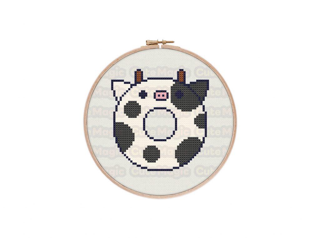 Cute Kawaii Cow Donut Cross Stitch Pattern