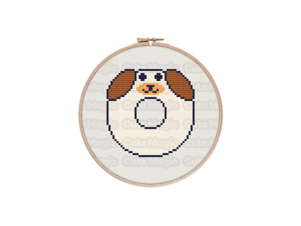 Cute Kawaii Dog Donut Cross Stitch Pattern