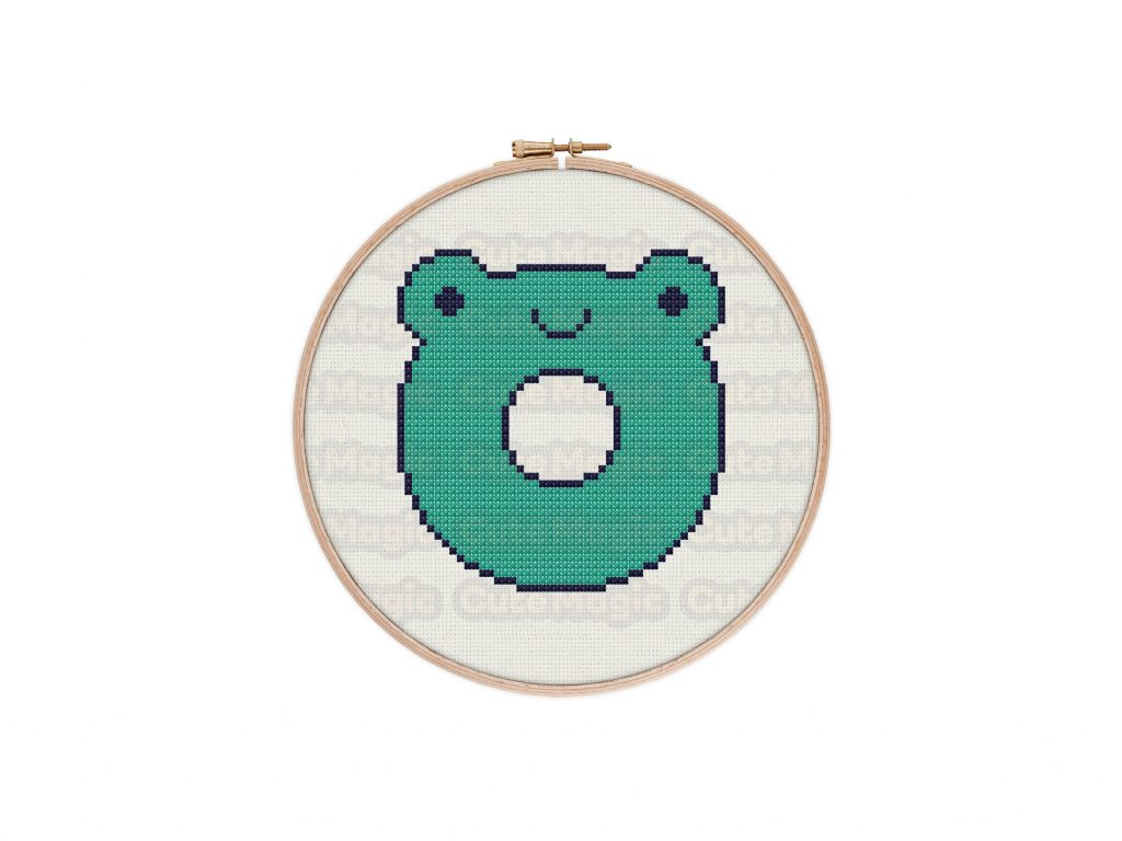 Cute Kawaii Frog Donut Cross Stitch Pattern