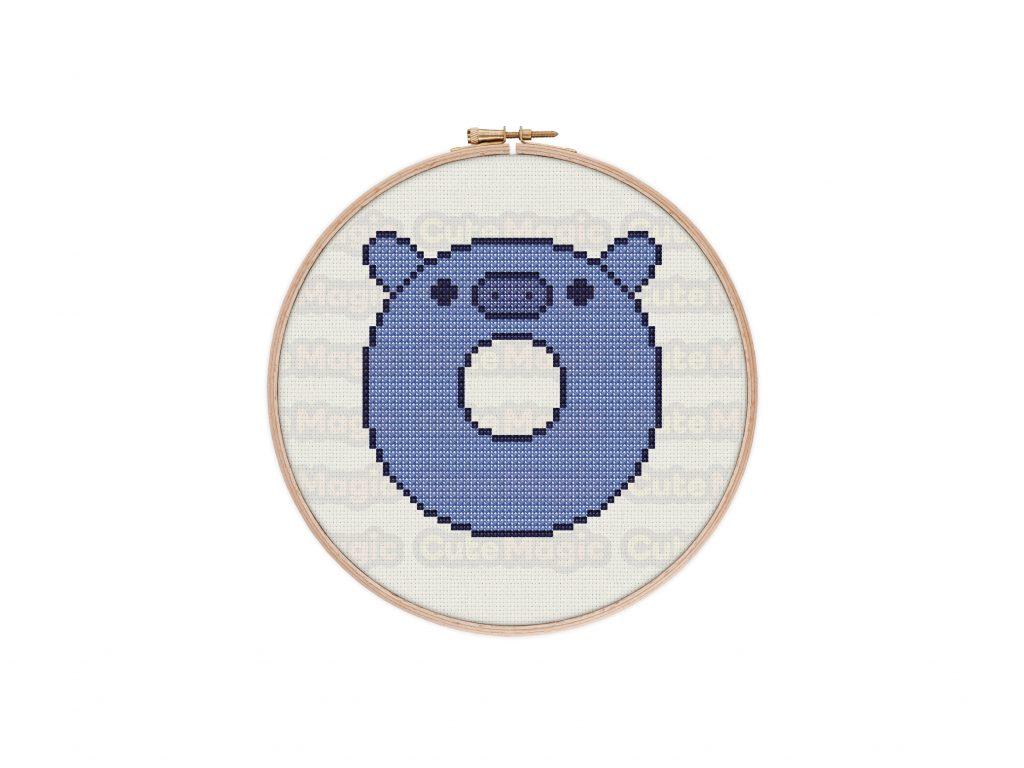 Cute Kawaii Hippo Donut Cross Stitch Pattern