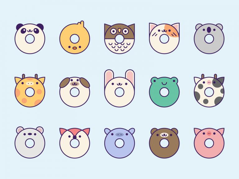 Cute Kawaii Animal Donuts